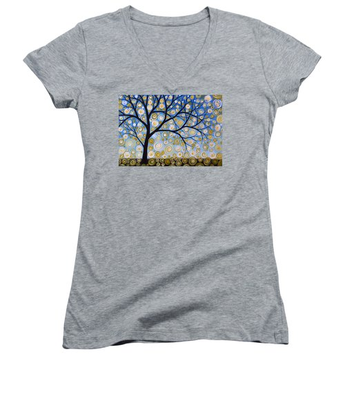 Women's V-Neck T-Shirt (Junior Cut) featuring the painting Abstract Tree Nature Original Painting Starry Starry By Amy Giacomelli by Amy Giacomelli