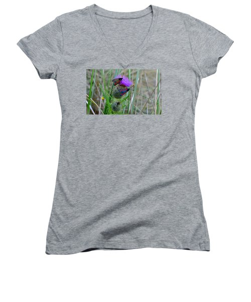 Women's V-Neck T-Shirt (Junior Cut) featuring the photograph Active by Barbara Walsh