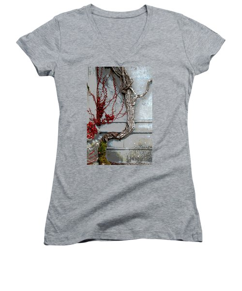 Women's V-Neck T-Shirt (Junior Cut) featuring the photograph Adare Ivy by Charlie and Norma Brock