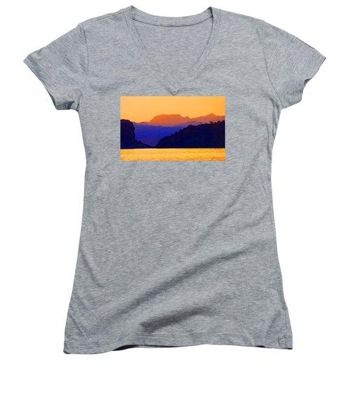 Agua Verde Abstract Women's V-Neck T-Shirt (Junior Cut) by Anne Mott