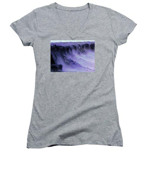 Women's V-Neck T-Shirt (Junior Cut) featuring the photograph Alien Landscape The Aftermath by Blair Stuart