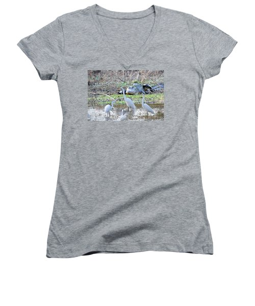 Women's V-Neck T-Shirt (Junior Cut) featuring the photograph Alligator Looking For Food by Dan Friend