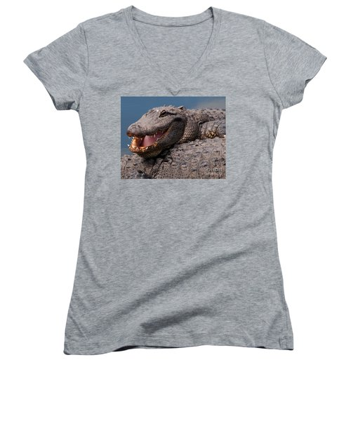 Women's V-Neck T-Shirt (Junior Cut) featuring the photograph Alligator Smile by Art Whitton