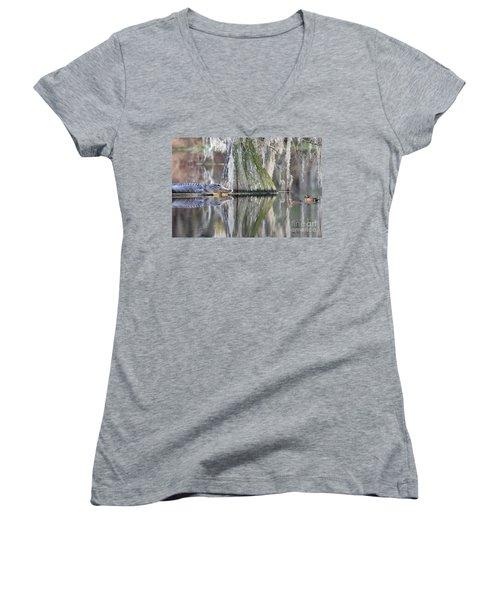 Women's V-Neck T-Shirt (Junior Cut) featuring the photograph Alligator Waiting For Dinner by Dan Friend