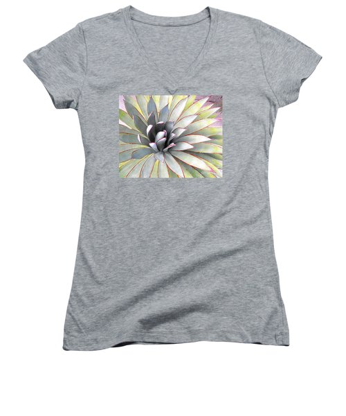 Women's V-Neck T-Shirt (Junior Cut) featuring the photograph Aloe by Rebecca Margraf