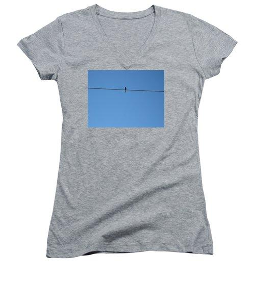 Alone At Last Women's V-Neck T-Shirt (Junior Cut) by Kume Bryant