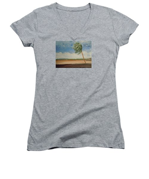 Women's V-Neck T-Shirt (Junior Cut) featuring the painting Alone In Paradise  by Dan Whittemore