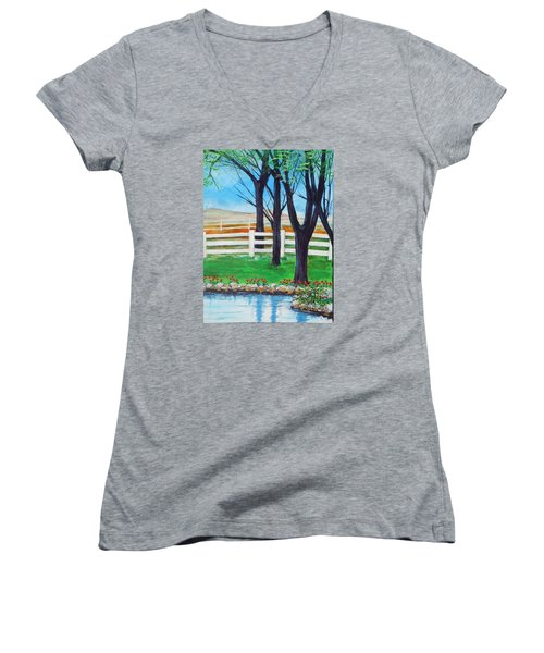 Women's V-Neck T-Shirt (Junior Cut) featuring the painting Along The Lane by Dan Whittemore