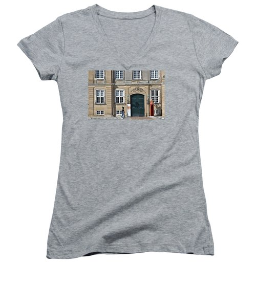 Women's V-Neck T-Shirt (Junior Cut) featuring the photograph Amalienborg Palace by Steven Richman