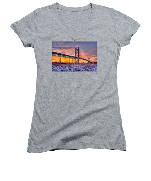 Ambassador Bridge Sunrise 1-16-2012  Detroit Mi Women's V-Neck (Athletic Fit)