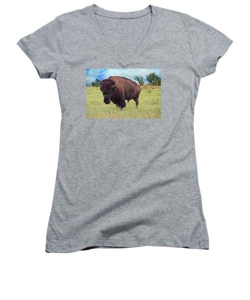 American Bison Women's V-Neck (Athletic Fit)