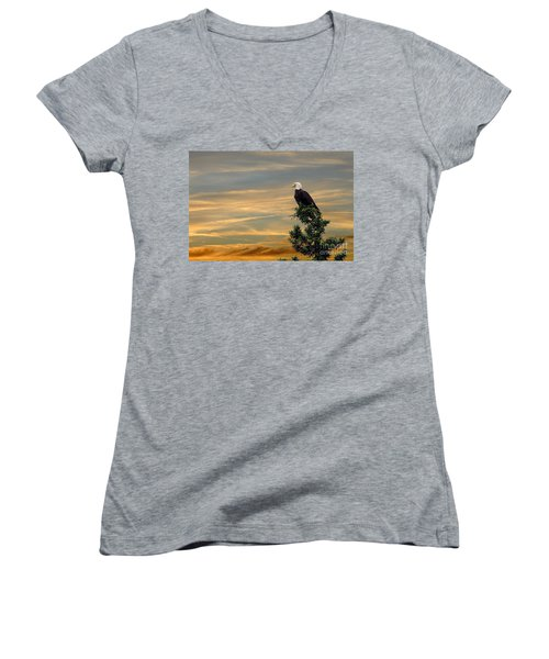 Women's V-Neck T-Shirt (Junior Cut) featuring the photograph American Eagle Sunset by Dan Friend