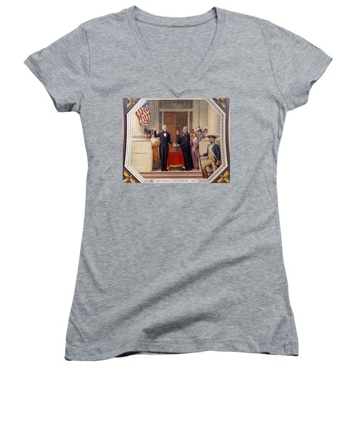Women's V-Neck T-Shirt (Junior Cut) featuring the photograph Andrew Jackson At The First Capitol Inauguration - C 1829 by International  Images