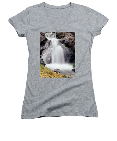 Women's V-Neck T-Shirt (Junior Cut) featuring the photograph Angel Hair by Sharon Elliott