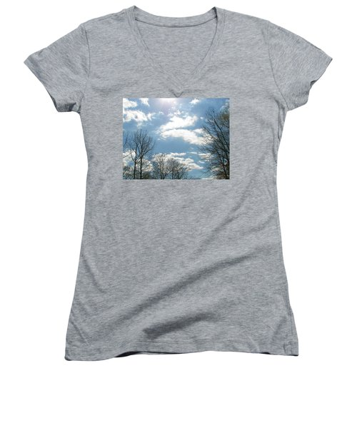 Women's V-Neck T-Shirt (Junior Cut) featuring the photograph Angels On High by Pamela Hyde Wilson