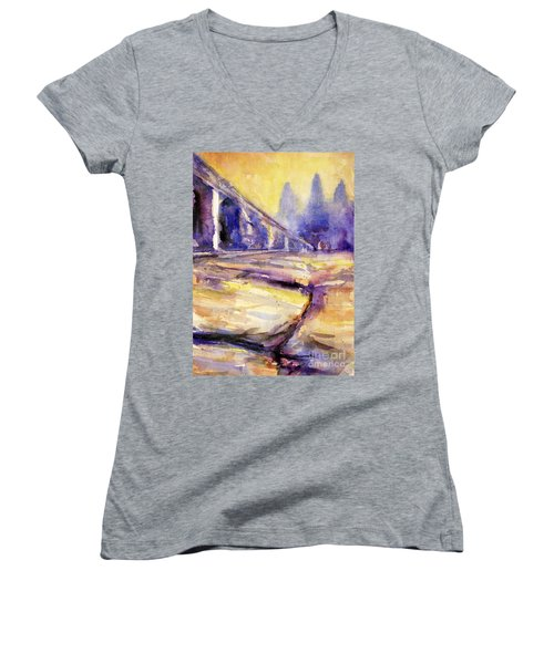 Angkor Wat Sunrise 3 Women's V-Neck (Athletic Fit)