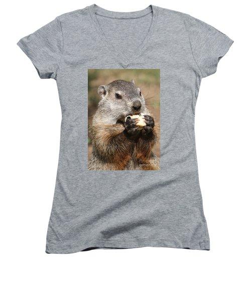 Animal - Woodchuck - Eating Women's V-Neck T-Shirt