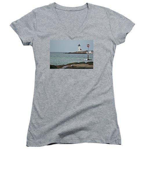 Annisquam Lighthouse Women's V-Neck T-Shirt (Junior Cut) by Joe Faherty