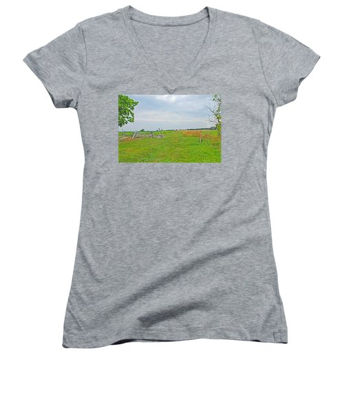 Women's V-Neck T-Shirt (Junior Cut) featuring the photograph Antietam Battle Of The Cornfield by Cindy Manero