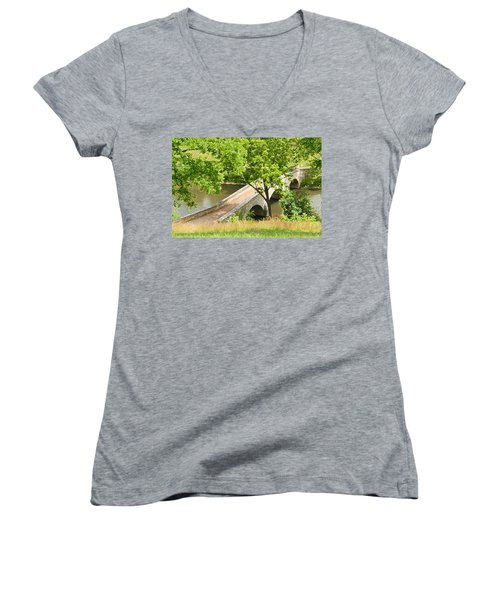 Women's V-Neck T-Shirt (Junior Cut) featuring the photograph Antietam's Burnside Bridge by Cindy Manero