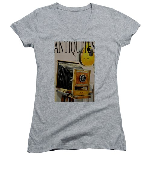 Women's V-Neck T-Shirt (Junior Cut) featuring the photograph Antiquites by Jan Amiss Photography