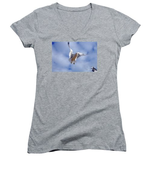 Women's V-Neck T-Shirt (Junior Cut) featuring the photograph Applying Brakes In Flight by Clayton Bruster