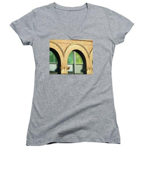 Women's V-Neck T-Shirt (Junior Cut) featuring the photograph Architecture Memphis by Lizi Beard-Ward