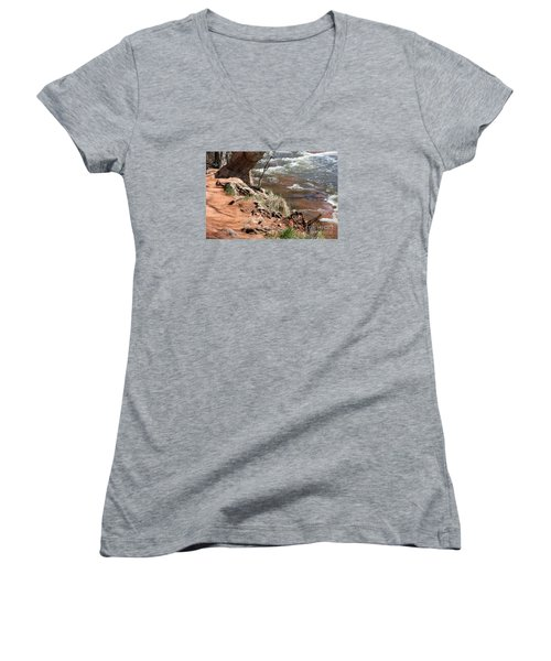 Women's V-Neck T-Shirt (Junior Cut) featuring the photograph Arizona Red Water by Debbie Hart