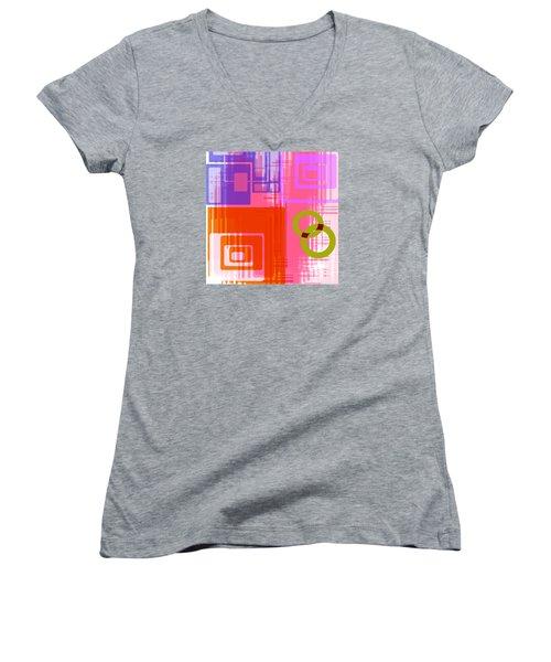 Women's V-Neck T-Shirt (Junior Cut) featuring the digital art Art Deco Style Digital Art by Susan Leggett