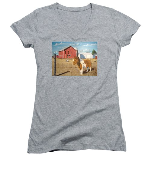 Women's V-Neck T-Shirt (Junior Cut) featuring the painting At Home by Norm Starks