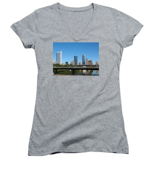 Austin Texas 2012 Skyline And Water Reflections Women's V-Neck T-Shirt (Junior Cut) by Connie Fox