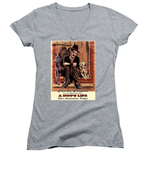 Australian Kelpie - A Dogs Life Movie Poster Women's V-Neck T-Shirt