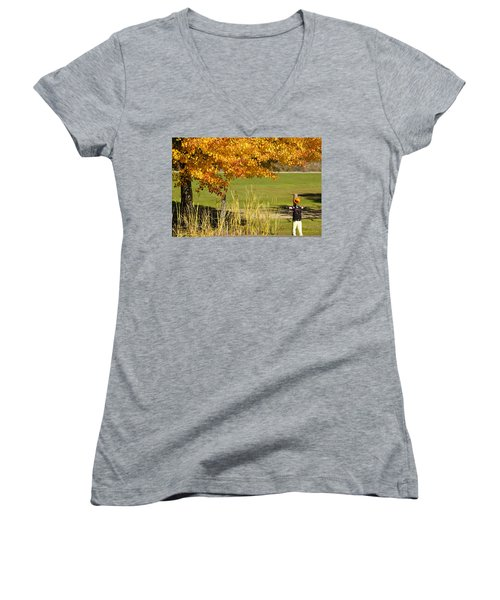 Autumn At The Schoolground Women's V-Neck T-Shirt (Junior Cut) by Mick Anderson