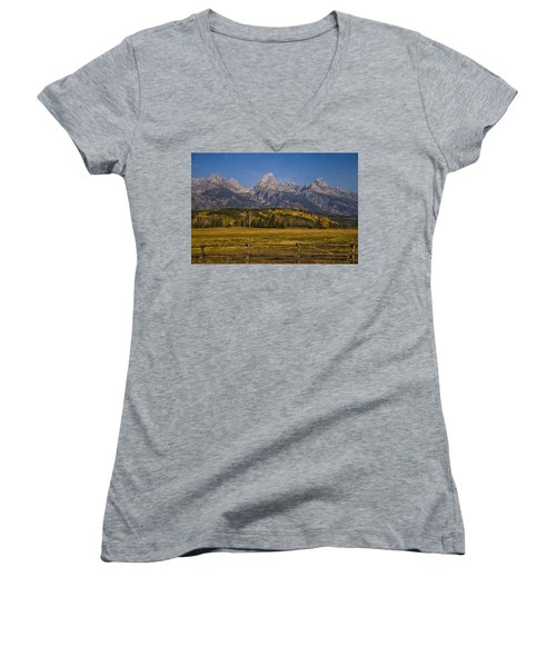 Autumn In The Tetons Women's V-Neck (Athletic Fit)