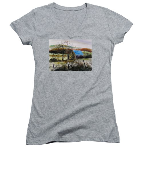 Women's V-Neck T-Shirt (Junior Cut) featuring the painting Autumn Light By John Williams by John Williams