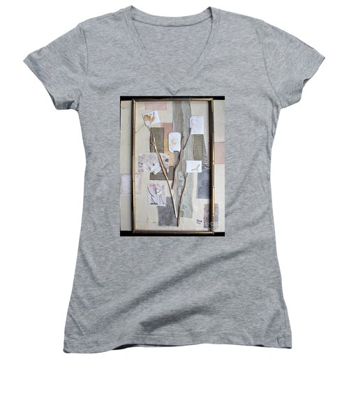 Women's V-Neck T-Shirt (Junior Cut) featuring the mixed media Autumn by Sandy McIntire