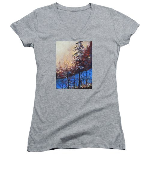 Women's V-Neck T-Shirt (Junior Cut) featuring the painting Autumn Silence by Dan Whittemore