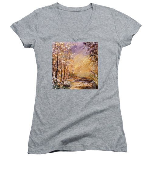 Autumn Snow Women's V-Neck T-Shirt (Junior Cut) by Karen  Ferrand Carroll