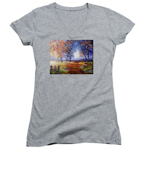 Women's V-Neck T-Shirt (Junior Cut) featuring the painting Autumn Wheelbarrow by Lou Ann Bagnall