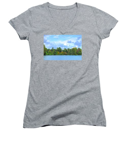 Women's V-Neck T-Shirt (Junior Cut) featuring the photograph Autumn's Beauty At Hoyt Lake by Michael Frank Jr
