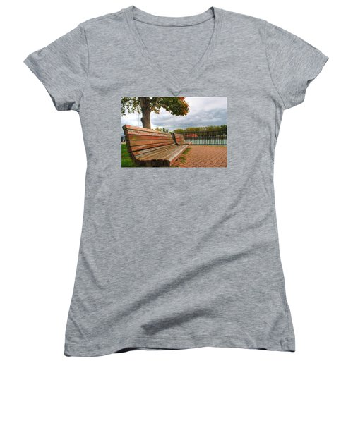 Women's V-Neck T-Shirt (Junior Cut) featuring the photograph Awaiting by Michael Frank Jr