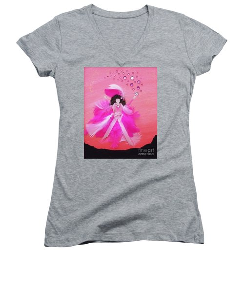 Women's V-Neck T-Shirt (Junior Cut) featuring the painting Awareness by Alys Caviness-Gober