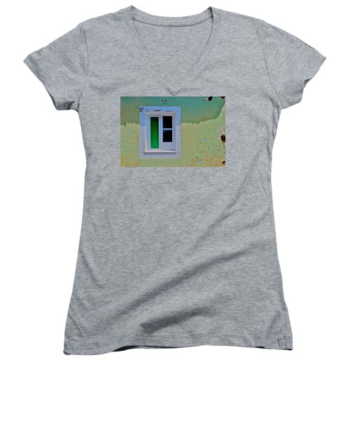 Azores Window Women's V-Neck T-Shirt (Junior Cut) by Eric Tressler