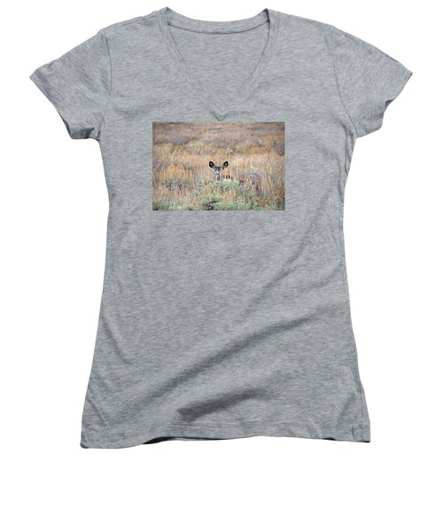 Women's V-Neck T-Shirt (Junior Cut) featuring the photograph Babe In Hiding by Lynn Bauer