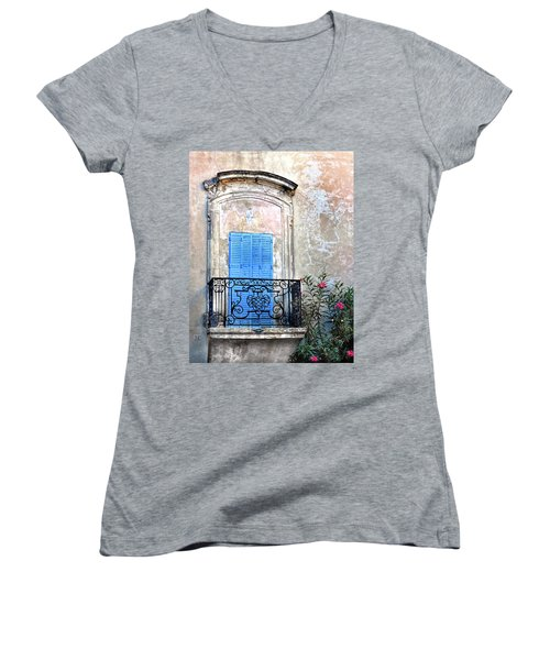 Women's V-Neck T-Shirt (Junior Cut) featuring the photograph Balcony Provence France by Dave Mills