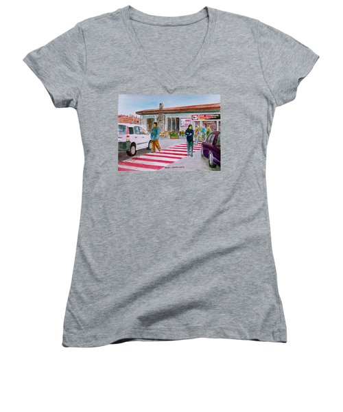 Bar Ristorante Mt. Etna Sicily Women's V-Neck T-Shirt (Junior Cut) by Frank Hunter