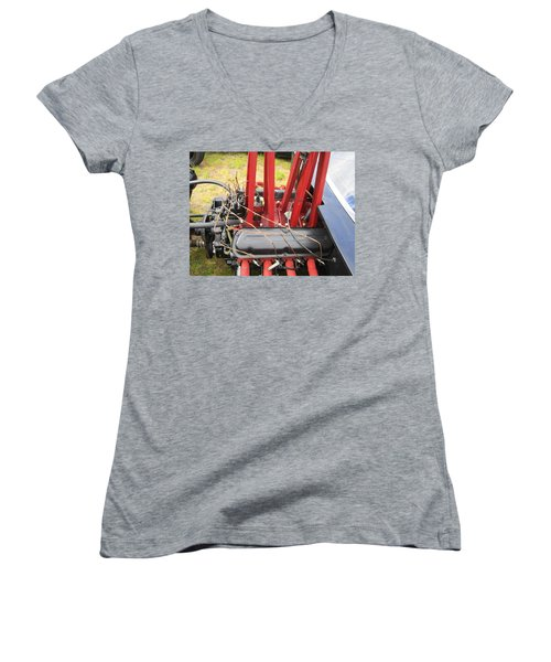 Women's V-Neck T-Shirt (Junior Cut) featuring the photograph Barbwire Engine by Kym Backland