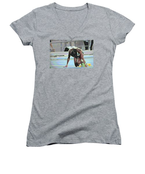 Women's V-Neck T-Shirt (Junior Cut) featuring the mixed media Baton by Terence Morrissey