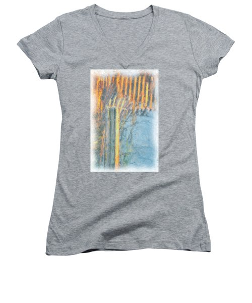 Women's V-Neck T-Shirt (Junior Cut) featuring the photograph Beach Fence by Lynne Jenkins