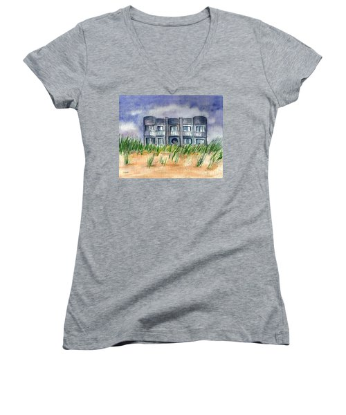 Women's V-Neck T-Shirt (Junior Cut) featuring the painting Beach House by Clara Sue Beym